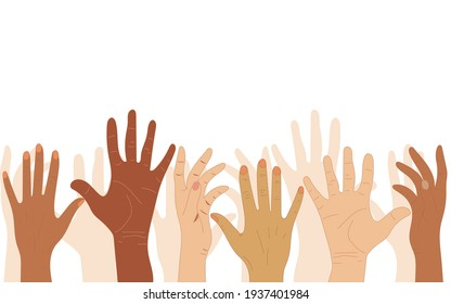 Hands of people with different skin colors, different nationalities and religions. Activists, feminists and other communities are fighting for equality. White background. Vector graphics.