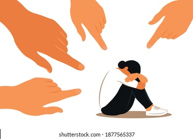 Hands of people point to the girl. Non-confident woman. Opinion and the pressure of society. Shame. Vector flat