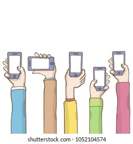Hands with phone template vector cartoon illustration over white