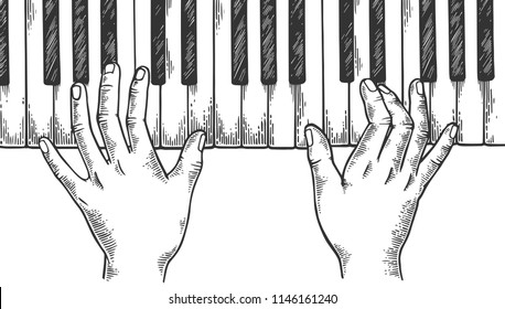 Hands and piano keys engraving vector illustration. Scratch board style imitation. Black and white hand drawn image.