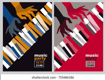 hands and piano keys vector illustration. modern concept jazz concert poster