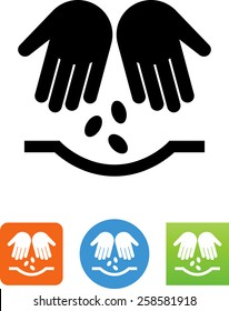 Hands planting seeds icon