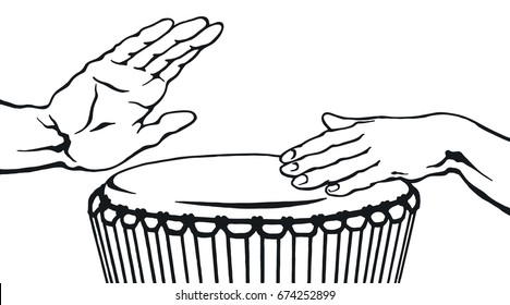 Hands playing the ethnic drum in sketch style. Tom-tom music instrument. Hand drawn black vector illustration isolated on white background
