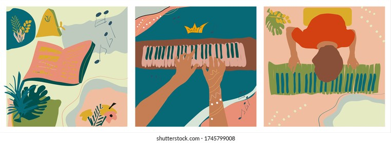 Hands playing piano, musical notes with metronome and man with piano keys. Musical set of three hand drawn vector isolated trendy illustrations with abstract backgrounds. Naive art in pastel colors