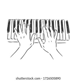 hands playing the piano vector sketch illustration