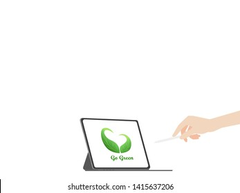 Hands point pencil tablet heart leaf tree logo on green display paperless logo go green concept idea, hand catch new tablet pro, nature, save the planet, business device, tablet, screen display.