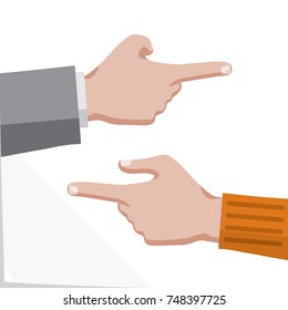Hands with Pointing Finger Dressed Business and Casual Style Showing Left and Right Direction or Way Flat Graphic Design - Skin Color on White Paper Effect Background - Vector Infographic Illustration