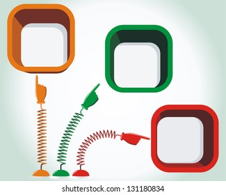 Hands with pointing finger on springs and place for your text. Vector illustration