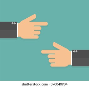 Hands with pointing fingers pointing to each other. Flat design