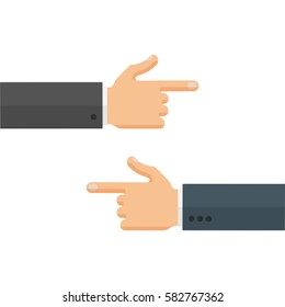 Hands with pointing fingers  to each other,  left and right directions. Flat style vector illustration isolated on white background.