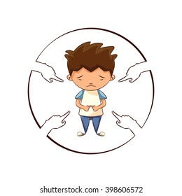 Hands pointing sad child, vector illustration