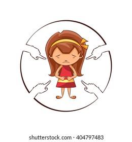 Hands pointing sad girl, vector illustration