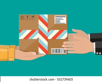 Hands with postal cardboard box. delivery concept. Flat style vector illustration