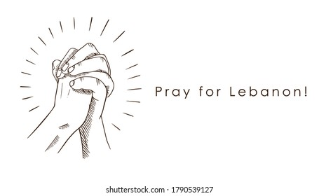 Hands praying and, Pray for Lebanon!, text. Let's together pray for Lebanon!