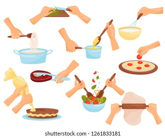 Hands preparing food, process of cooking pasta, meat, pizza, confectionery vector Illustration on a white background