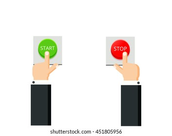 Hands press buttons. Start and stop concept. Flat vector illustration.