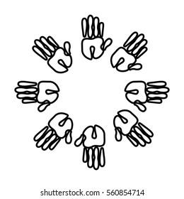 hands print paint around vector illustration design
