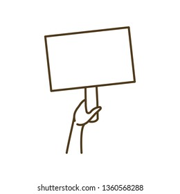hands with protest sign isolated icon