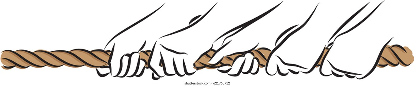 hands pulling rope team concept illustration