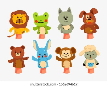 Hands puppets. Dolls for children theater, performance for children. Educational game with animal dolls on hand, vector characters isolated. Hands puppets play doll, cute and funny animals.