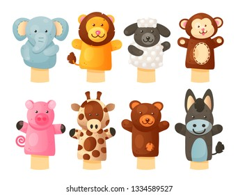 Hands puppets play doll, cute and funny animals. Kids performance and entertainment. Vector flat style cartoon illustration isolated on white background