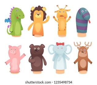 Hands puppets. Toys from socks for kids funny children games vector characters isolated