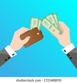 Hands a purse and money.The concept of business and Finance banking.Flat vector illustration.
