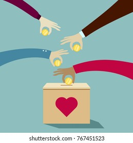Hands puting coins into donation box: Donate money charity concept