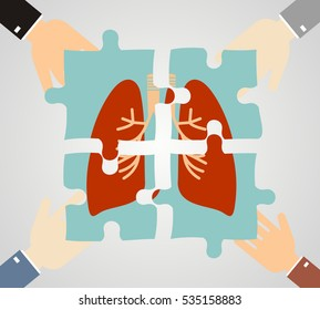 Hands putting human lungs puzzle pieces together. pulmonology and medicine concept. Flat design