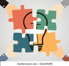 Hands putting piece into light bulb shaped puzzle. Idea, business, solution, creativity, genius concept. Flat style. vector illustration
