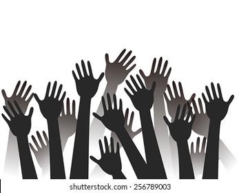 hands raised background