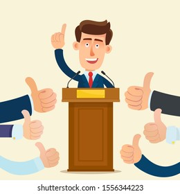 Lot of hands with a raised thumb up. People support the candidate. Successful voting. Voters like speech of leader. Vector illustration, flat design cartoon style. Isolated background.