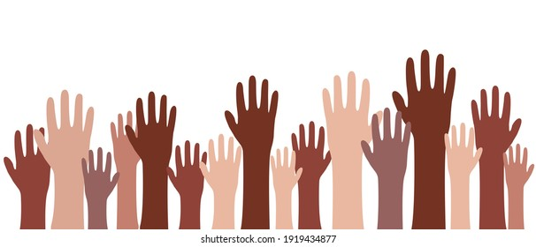 Hands raised up. People of different nationalities. Vector banner raised his hand. Harmony of multicultures. Peace Sign Equality Vector Illustration EPS 10