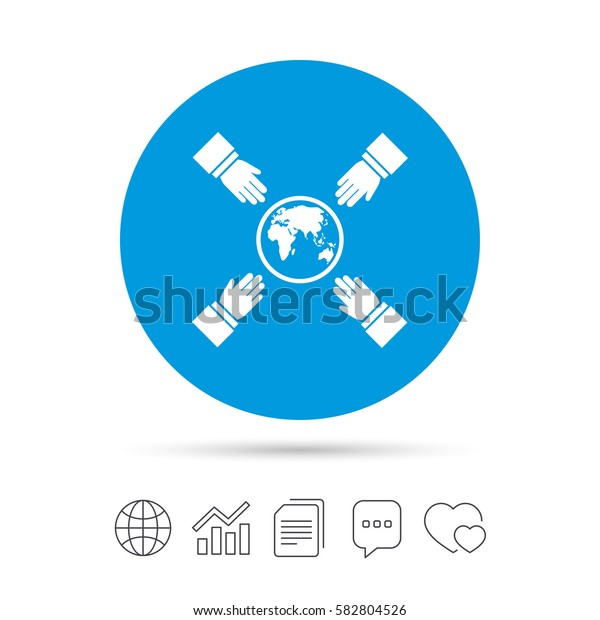 Hands reach for earth sign icon. Save planet symbol. Copy files, chat speech bubble and chart web icons. Vector
