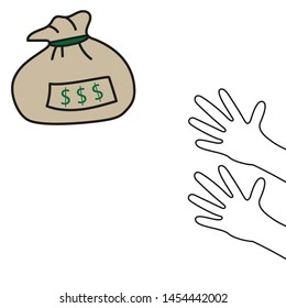 Hands reaching for a bag of money