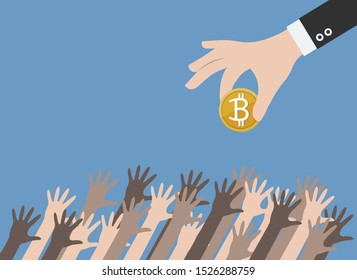 Hands reaching golden coin from business hand, vector, illustrator