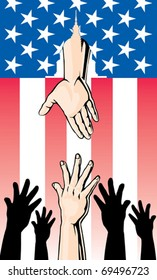 Hands Reaching for Government Bailout is an Illustration of hands reaching up while another hand is reaching down through an American Flag to offer help from the United States Government.