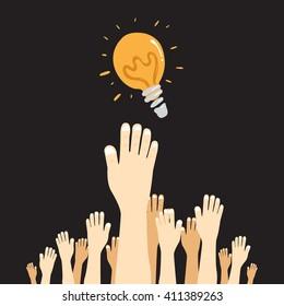 hands reaching idea.Vector Illustration