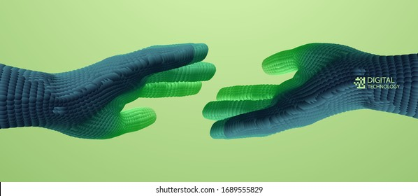 Hands reaching towards each other. Concept of human relation, togetherness or  partnership. Connection structure. 3D vector illustration.