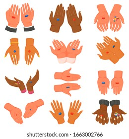 Hands with red and blue pill vector illustration. Cartoon multi ethnic human hands holding medical pills, medicine tablets, drugs, vitamin capsules in open palm. Concept of choice. Isolated icons set