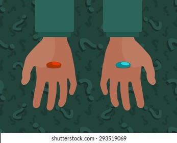 Hands with the red and blue pills against the question mark background. Conceptual illustration suitable for advertising and promotion