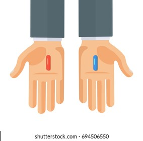 Hands with red and blue pills. Choice metaphor. Flat style concept vector illustration isolated on white.