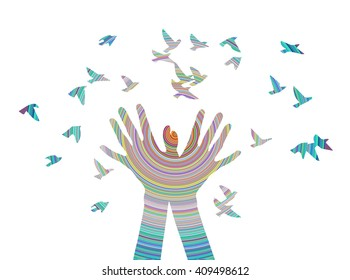 Hands releasing a flock of birds. Vector illustration