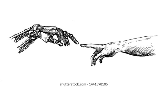 Hands of Robot and Human hands touching with fingers, Virtual Reality or Artificial Intelligence Technology Concept - Hand Draw Sketch Design illustration.