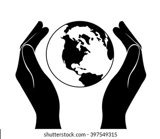 hands saving the world  vector