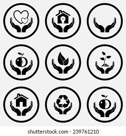 In hands set. Black and white set vector icons.