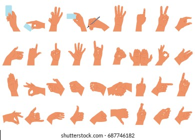 Hands set with different gestures, showing emotions with your fingers and holding a card and pen. Vector cartoon flat arm icon isolated on white background.