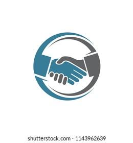 Hands Shake in Circle Logo Template
