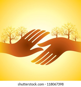 hands shake with tree