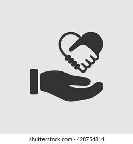 Hands shaking forming heart in hand vector icon. Handshake symbol.